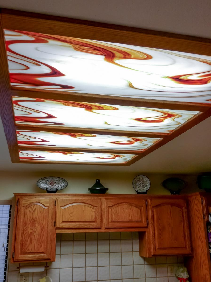 Coffee Swirl Light Panel Installation 4-bay