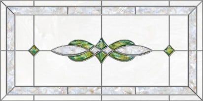 acrylic stained glass fluorescent light covers with green and pearl accents