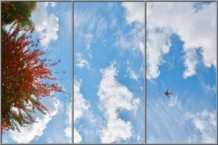 sky ceiling with plane and red tree fluorescent light covers 3 panel setup