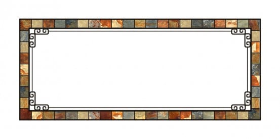 fluorescent light covers with simulated stone look and white background with iron accents