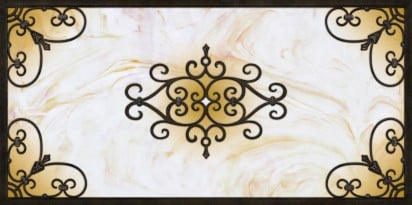 fluorescent light cover with the rustic look of tuscan iron design and copper glass panel 3 highlights