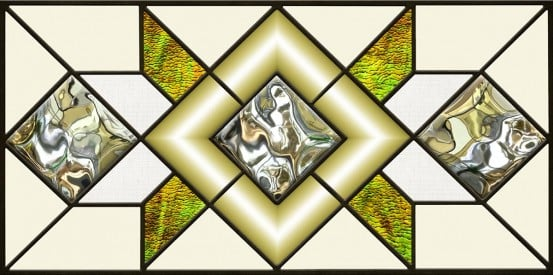 acrylic stained glass geometric fluorescent light covers with green gold accents