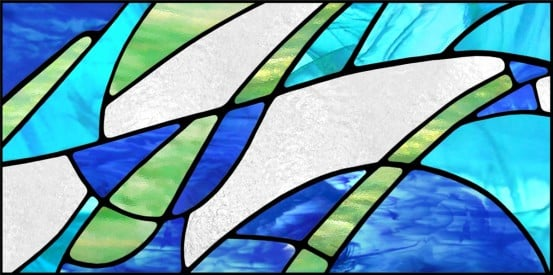abstract acrylic fluorescent light covers with blue, green and white colors