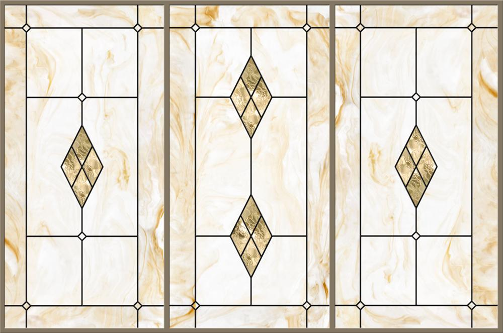 Stained-Glass-Light-Panels: Tan Marble 3-Bay