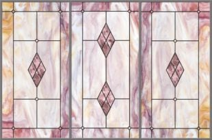 Stained-Glass-Light-Panels: Plum Amber 3-Bay