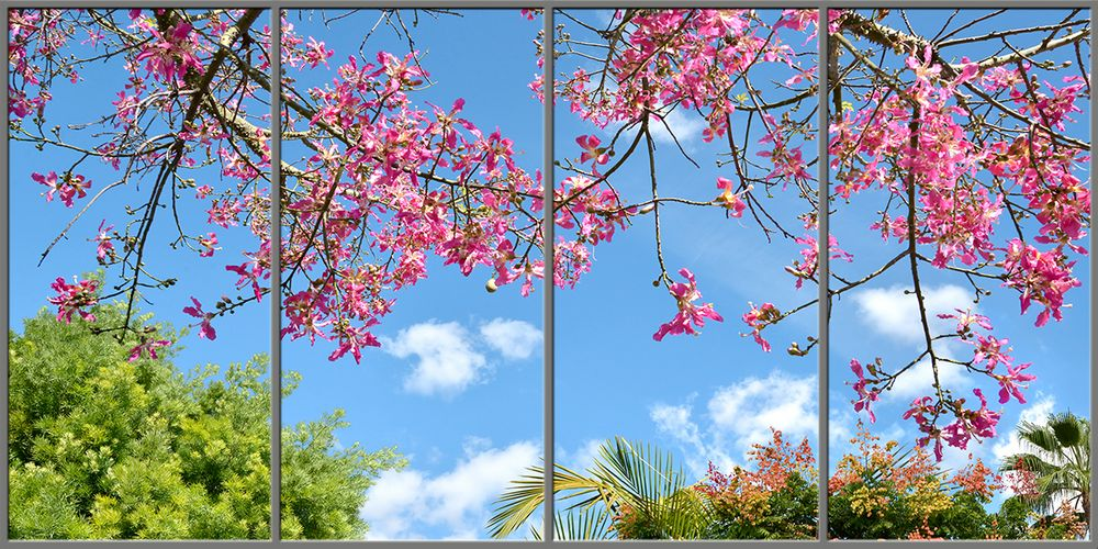 pink trees sky ceiling fluorescent light covers