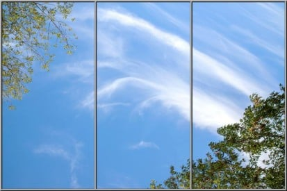 sky ceiling fluorescent light covers with wispy clouds and trees