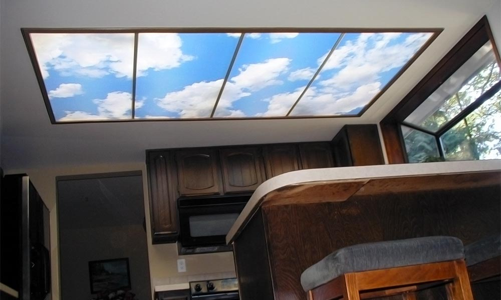 sky ceiling 4-bay installation using fluorescent light covers