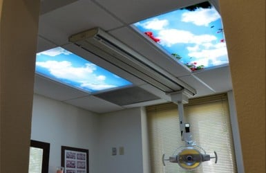 Sky Ceiling Light Panels in Dentist Office