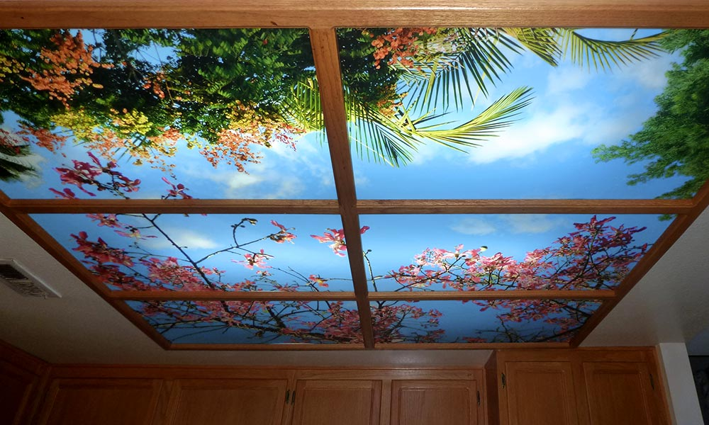 Flowered Ceiling Light Panel Mural